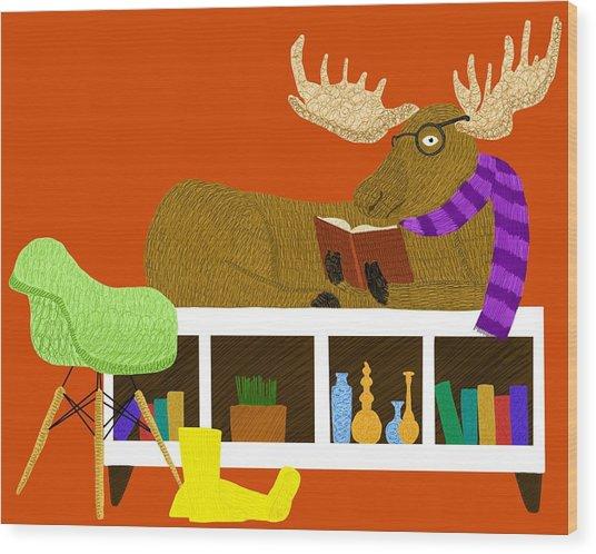 Moose On Bookshelf Wood Print by Joey Elkins