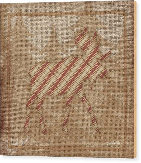 Moose Plaid Wood Print