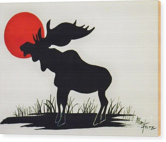 Moose Stands Tall Wood Print