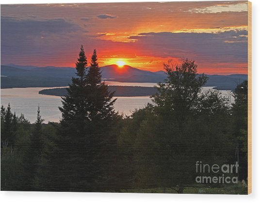 Mooselookmeguntic Sunset Wood Print