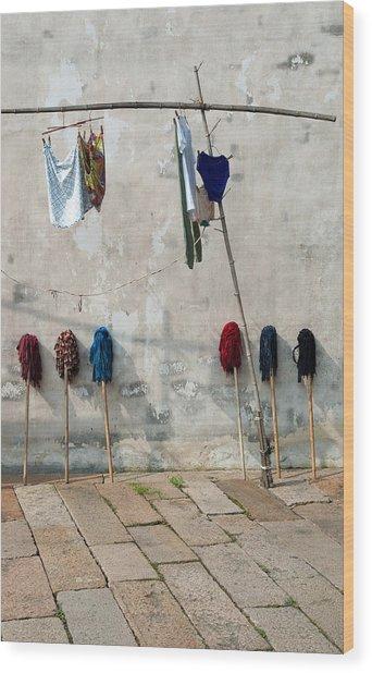 Mops And Laundry 1  Wuzhen China Wood Print