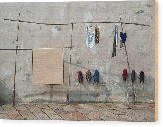 Mops And Laundry 2  Wuzhen China Wood Print
