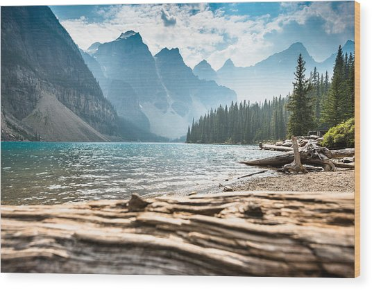 Moraine Lake In Banff National Park - Canada Wood Print by Franckreporter
