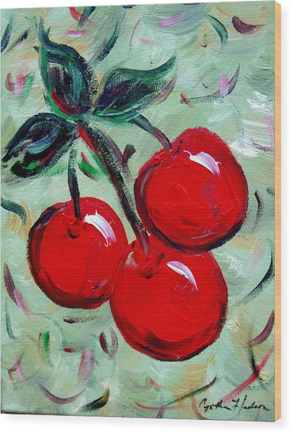 More Cherries Wood Print by Cynthia Hudson