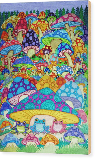 More Frogs Toads And Magic Mushrooms Wood Print