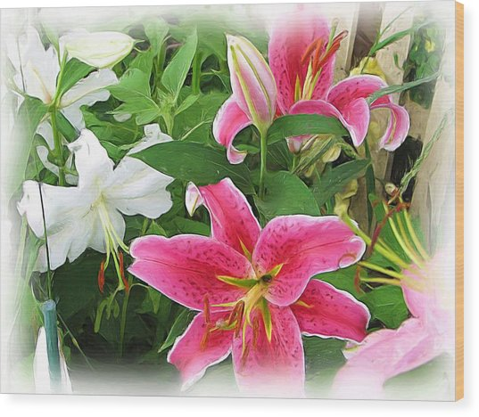 More Lilies Wood Print by Victoria Sheldon