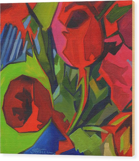 More Red Tulips  Wood Print