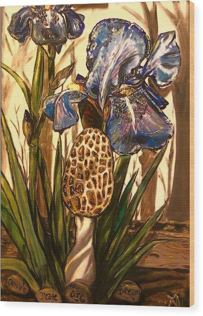 Morel In The Iris Bed Wood Print