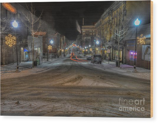 Morgantown High Street On Cold Snowy Night  Wood Print