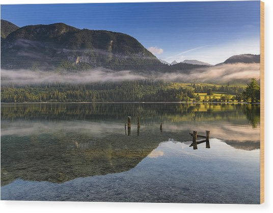 Morning At Lake Bohinj Wood Print