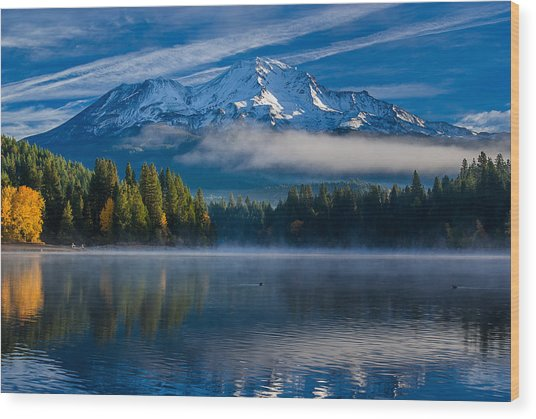 Morning At Siskiyou Lake Wood Print