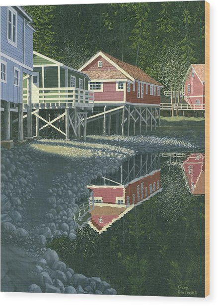 Morning At Telegraph Cove Wood Print
