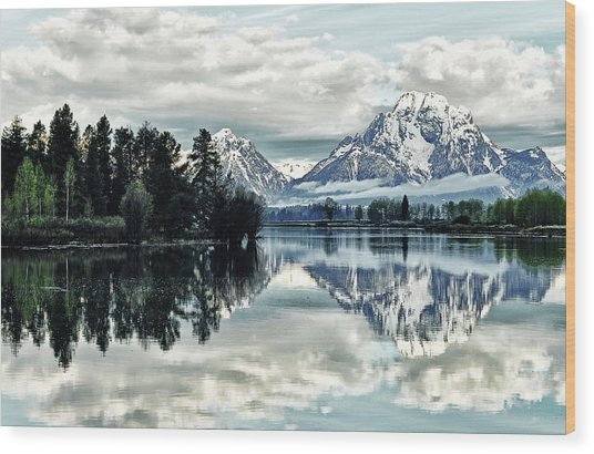 Morning At The Bend Wood Print by Jeff R Clow
