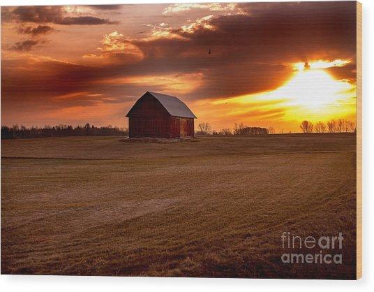Morning Barn Wood Print