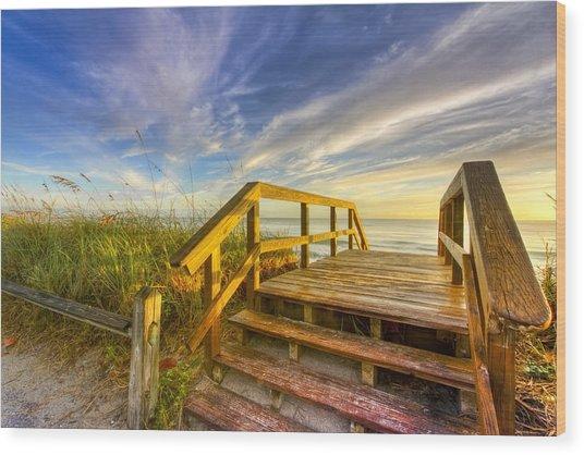 Morning Beach Walk Wood Print