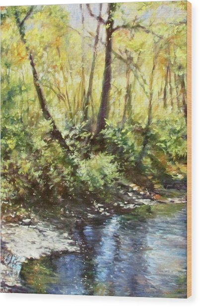 Morning By The River Wood Print
