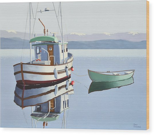 Morning Calm-fishing Boat With Skiff Wood Print