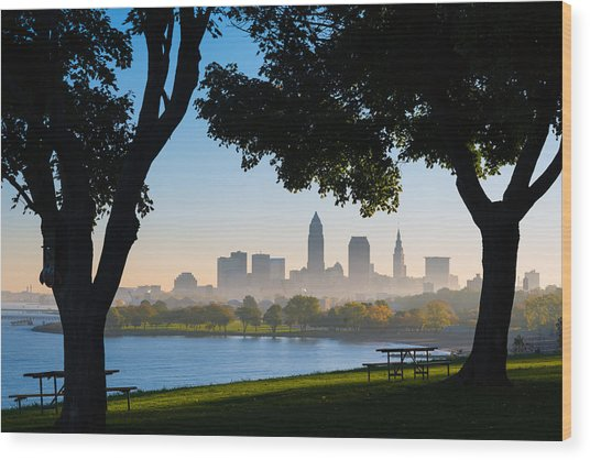 Cleveland Morning Fog Wood Print