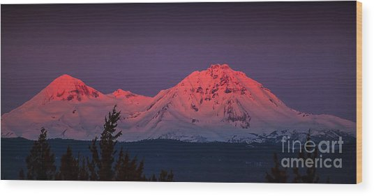 Morning Dawn On Two Of Three Sisters Mountain Tops In Oregon Wood Print