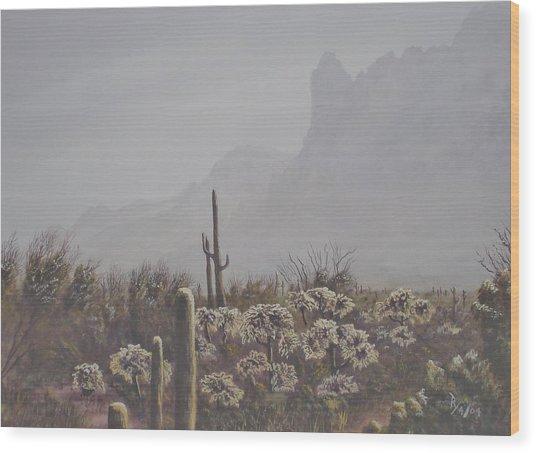 Morning Desert Haze Wood Print