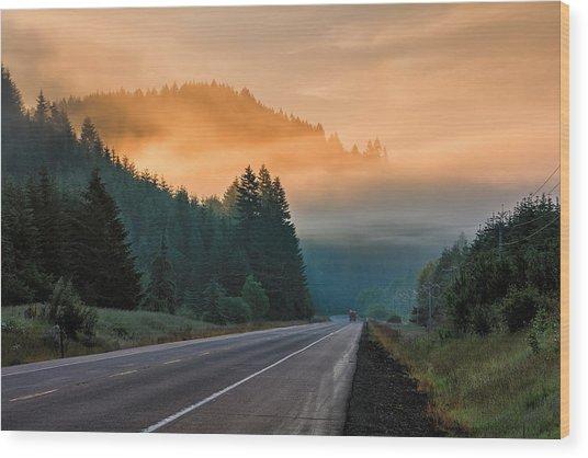 Morning Fog In Oregon Wood Print