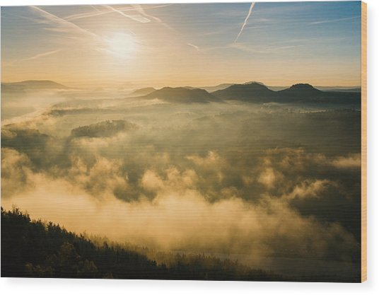 Morning Fog In The Saxon Switzerland Wood Print
