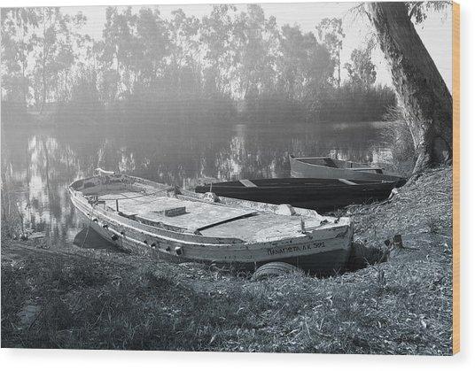 Morning Fog On The River Wood Print