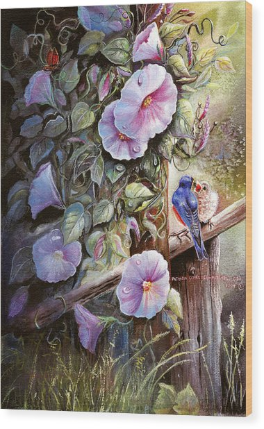 Morning Glories And Bluebirds. Wood Print