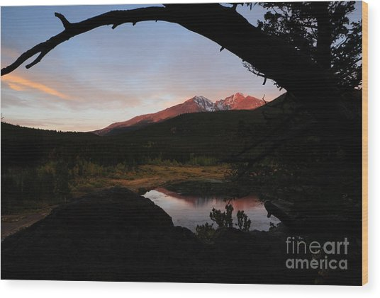 Morning Glow On Mountain Peaks Wood Print