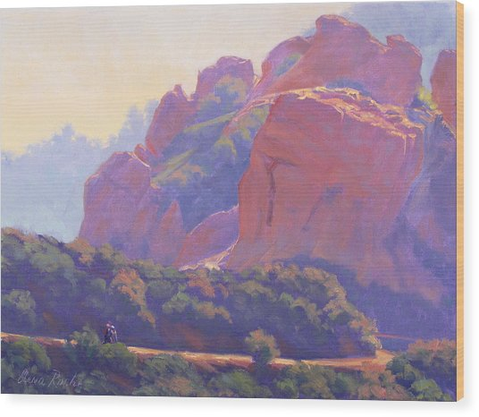 Morning Hike Cathedral Rock Wood Print by Elena Roche