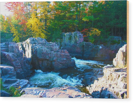 Morning In Eau Claire Dells Wood Print