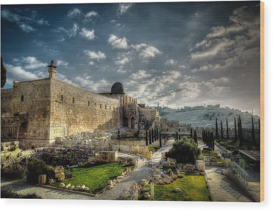 Morning In Jerusalem Hdr Wood Print