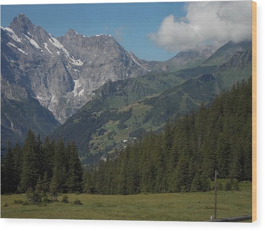 Morning In The Alps Wood Print