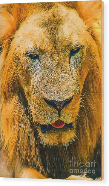 Morning Lion Wood Print