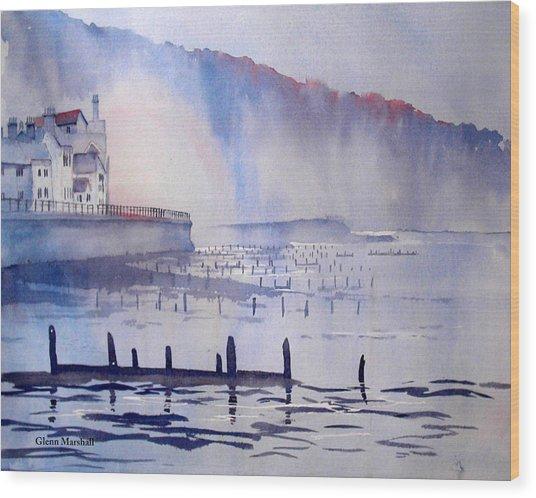 Morning Mist At Sandsend Wood Print
