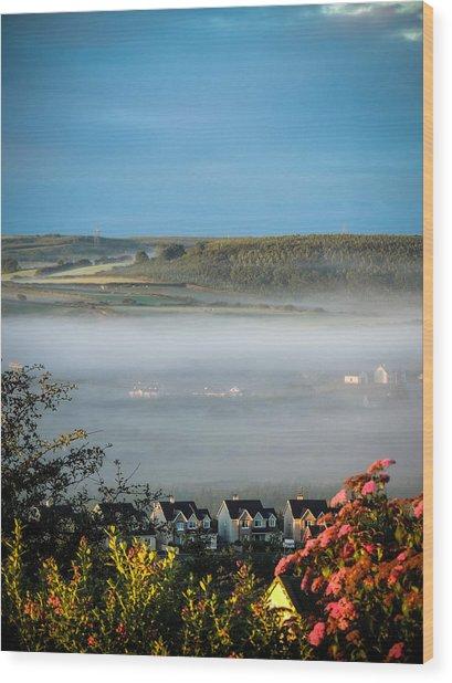 Morning Mist Over Lissycasey Wood Print