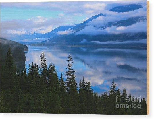 Morning Mist Rising Wood Print
