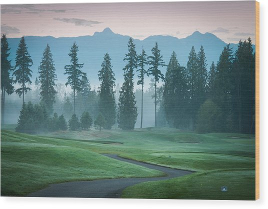 Morning On The Golf Course Wood Print