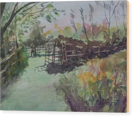 Morning On The Sheep Farm Wood Print