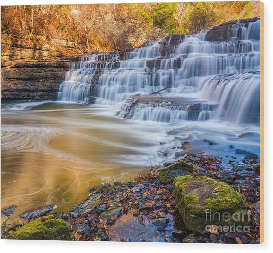 Morning On The Upper Falls Wood Print