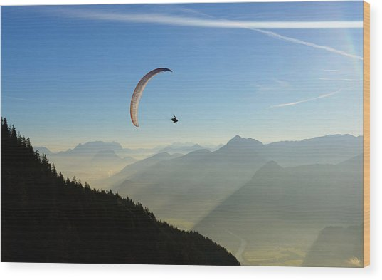 Morning Paragliding Flight Wood Print by Mario Eder