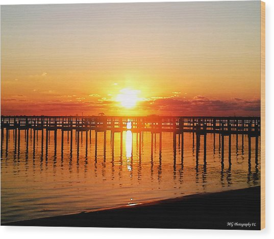 Wood Print featuring the photograph Morning Pier by Marty Gayler