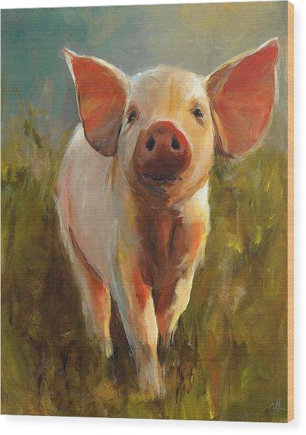 Morning Pig Wood Print