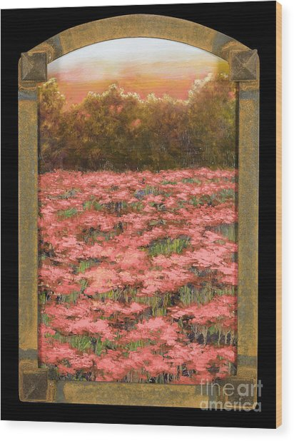 Morning Poppy Fields With Gold Leaf By Vic Mastis Wood Print