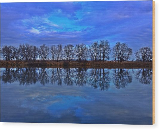 Blue Morning Reflection Wood Print