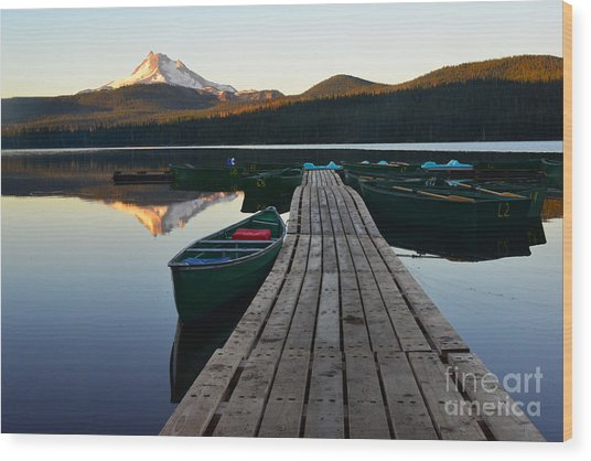 Morning Reflections With Mount Ranier Wood Print