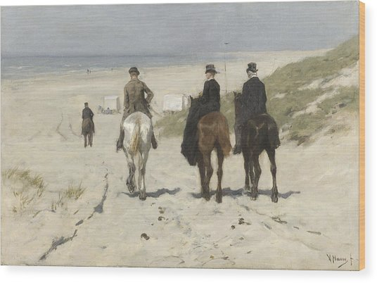 Morning Ride Along The Beach Wood Print