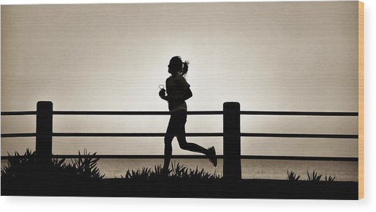Morning Run Wood Print