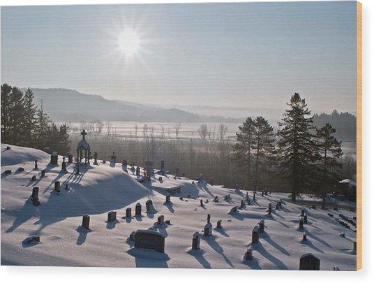 Morning Shadows In The Graveyard Wood Print
