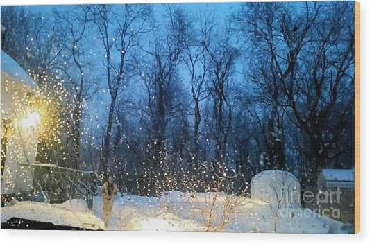 Snowy Morning Wood Print